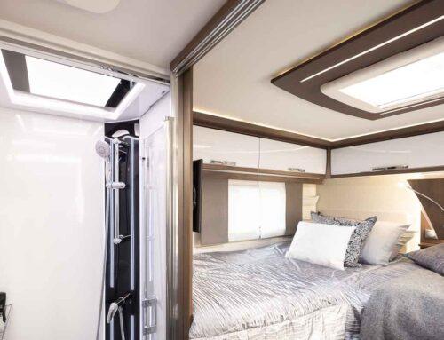 Luksushuvilat matkailuauto suihkutila ja makuuhuone